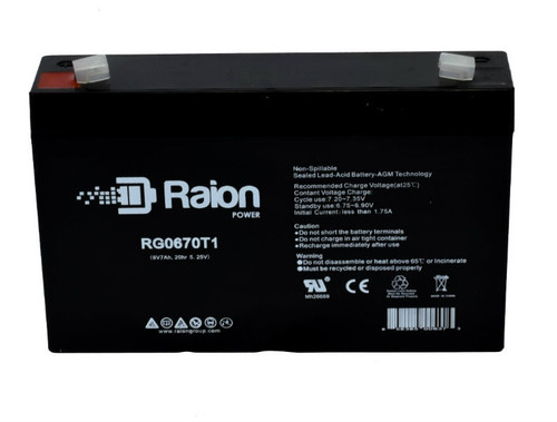 Raion Power RG0670T1 SLA Battery for Pace Tech Inc. 2200ECG MONITOR BACK UP Medical Battery