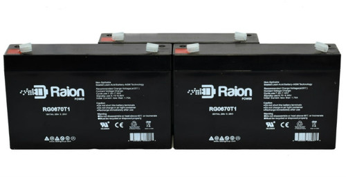 Raion Power 6V 12Ah Replacement Battery for Pace Tech Inc. 2200ECG MONITOR BACK UP (3 Pack)
