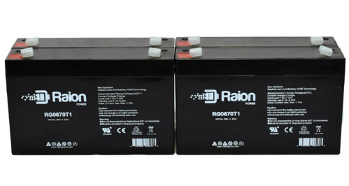 Raion Power 6V 12Ah Replacement Battery for Pace Tech Inc. 2200ECG MONITOR BACK UP (4 Pack)
