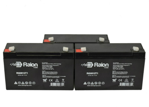 Raion Power RG0612T1 Replacement Battery for AVI 7800 Centrifuge Pump - (3 Pack)