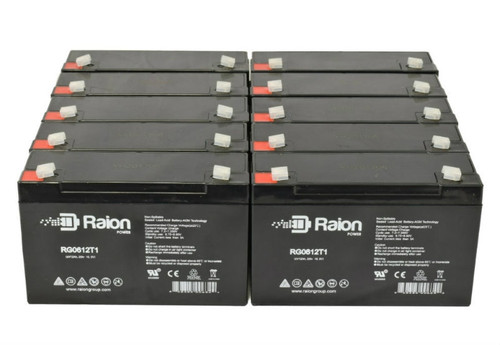 Raion Power RG0612T1 Replacement Battery for Mobilizer 5Patient Transport - (10 Pack)