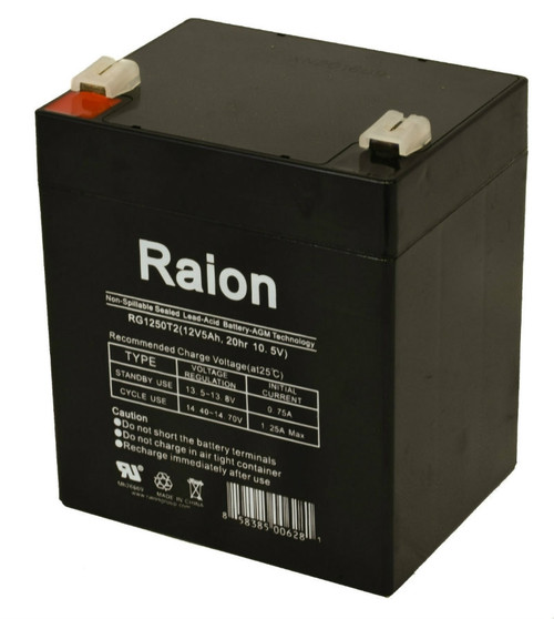 Raion Power 12V 5Ah SLA Medical Battery With T2 Terminals For Novametrix 903 O2/C02 MON