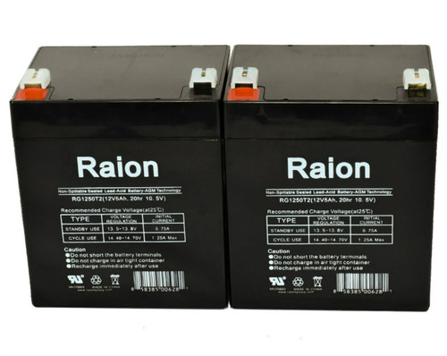 Raion Power RG1250T2 Replacement Battery for Biomedical Systems 705 INFANT MONITOR - (2 Pack)