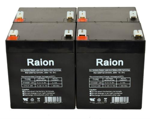 Raion Power RG1250T2 Replacement Battery for Biomedical Systems 705 INFANT MONITOR - (4 Pack)