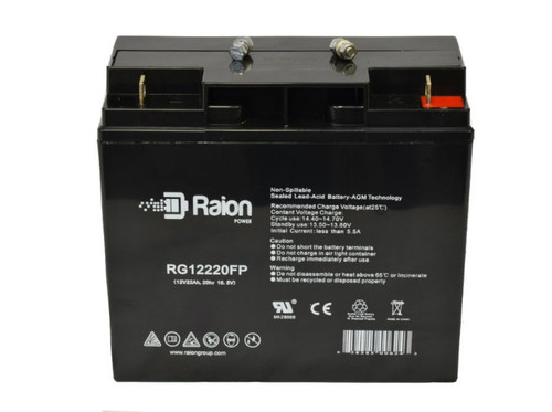 Raion Power 12V 22Ah SLA Motor Caddy & Golf Caddy Battery With FP Terminals For Kaddy O Matic Motorcaddies 266 E-Trolley