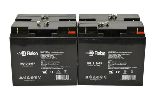 Raion Power RG12180FP Replacement Battery for Lobster E881 Tennis Ball Machine - (4 Pack)