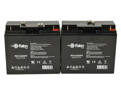Raion Power RG12220FP Replacement Battery For Silent Partner Edge Tennis Ball Machine Large - (2 Pack)