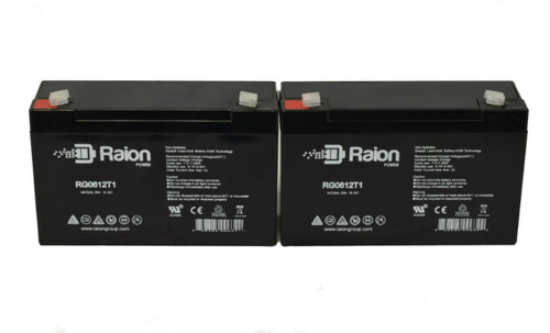 Raion Power RG0612T1 Replacement Battery for Optronics Spotlight A50121 - (2 Pack)