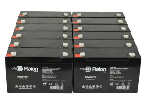 Raion Power RG0612T1 Replacement Battery for Optronics Spotlight A50121 - (12 Pack)