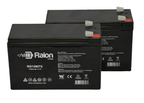 Raion Power RG1280T2 Replacement Battery For Cabela's 15 Million Candle Power Spotlight - (2 Pack)