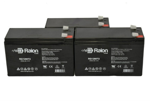 Raion Power RG1280T2 Replacement Battery For Vector 90510392 High Intensity Discharge Spotlight - (3 Pack)