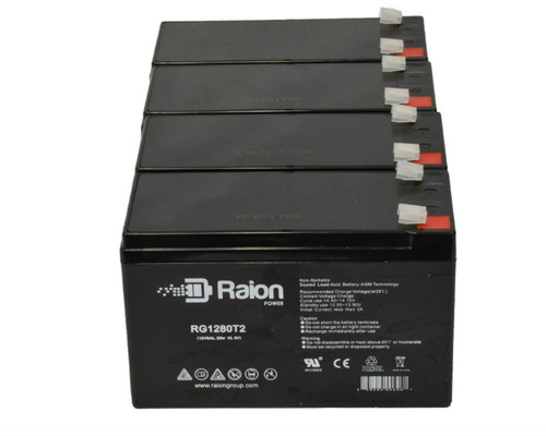 Raion Power RG1280T2 Replacement Battery For Cabela's 15 Million Candle Power Spotlight - (4 Pack)