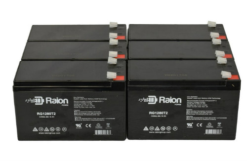 Raion Power RG1280T2 Replacement Battery For Cabela's 15 Million Candle Power Spotlight - (6 Pack)