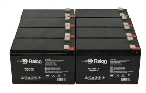 Raion Power RG1280T2 Replacement Battery For Wagan Tech 2741 18M Brite-Nite Mega Spotlight - (8 Pack)