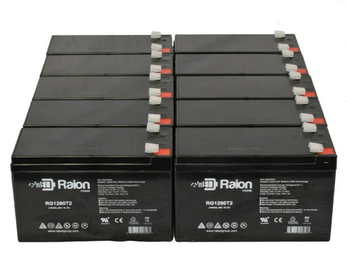 Raion Power RG1280T2 Replacement Battery For Vector 90510392 High Intensity Discharge Spotlight - (10 Pack)
