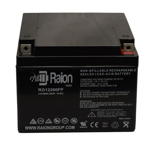 Raion Power 12V 26Ah SLA Battery With FP Terminals For EV Rider Gusto Scooter 3-Wheel