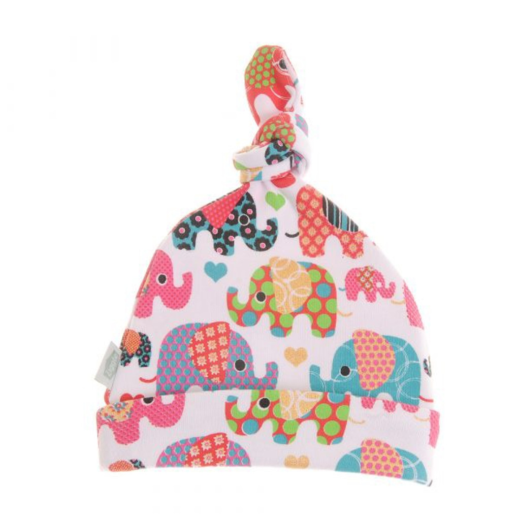 Baby Knotted Hat - Ethnic Elephants Hat