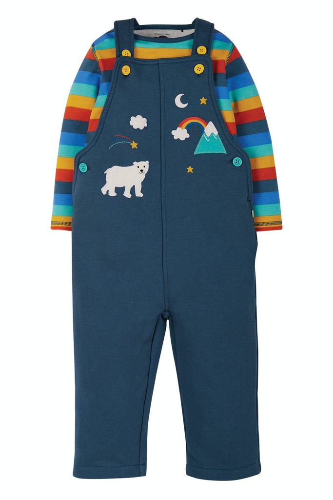 Rae Dungaree Outfit - Stripe Rainbow/India Ink