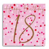18th Birthday - Gold 18 On Pink Spots MC29