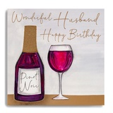 Happy Bday Husband - Bottle/Glass Red Wine MC16