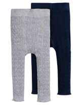 Cosy Cable Leggings 2pk - Grey Marl/Space Blue
