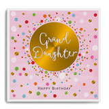 Happy Birthday Grand Daughter - Gold Circle with Pink Background LA38