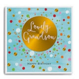 Happy Birthday Lovely Grandson - Gold Circle with Blue Background LA39