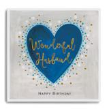 Happy Birthday Wonderful Husband - Blue Heart LA28
