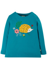 Alana Cosy Applique Top - Tobermory Teal/Hedgehog