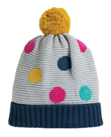 Evie Embroidered Bobble Hat - Grey Marl/Multi Spot