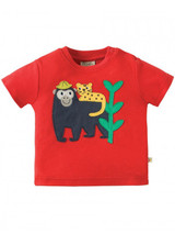 Little Creature Applique Top - Tomato/Monkey