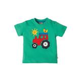 Little Wheels Applique T-shirt - Jungle Green/Tractor