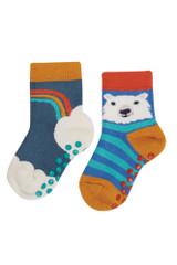 Grippy Socks 2 Pack -India Ink/Rainbow