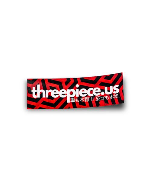threepiece.us Box Logo Sticker - Red/Black Labyrinth Print
