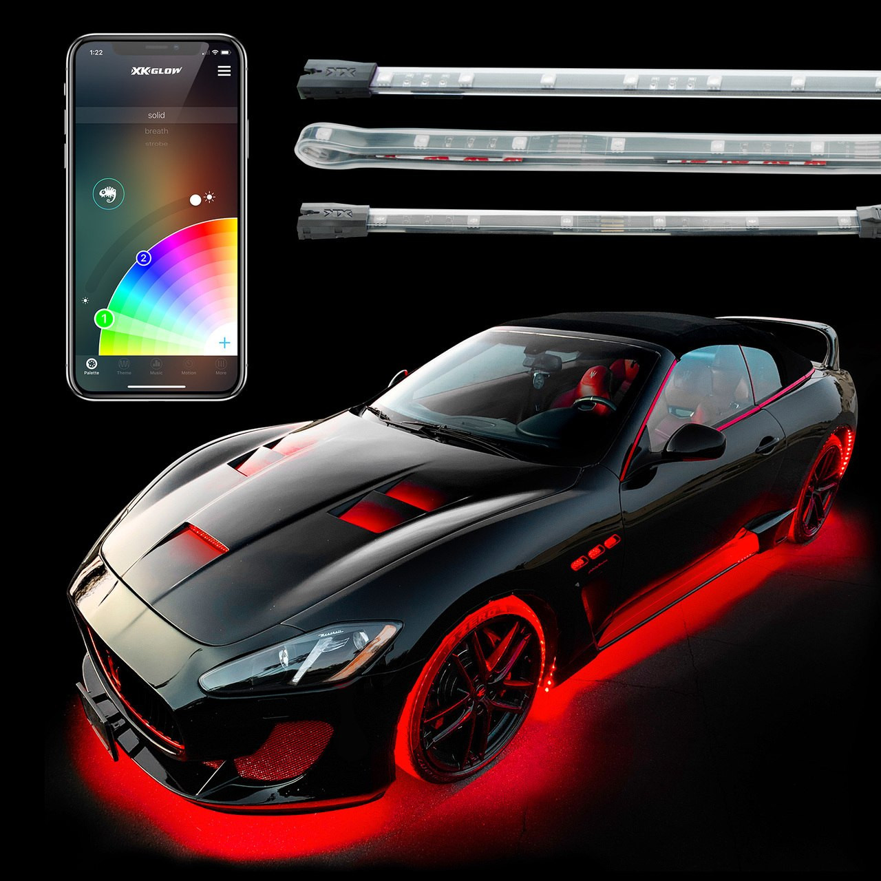 Led Lights For Cars >> Underglow Interior Led Accent Light Kits For Cars Xkchrome Smartphone App