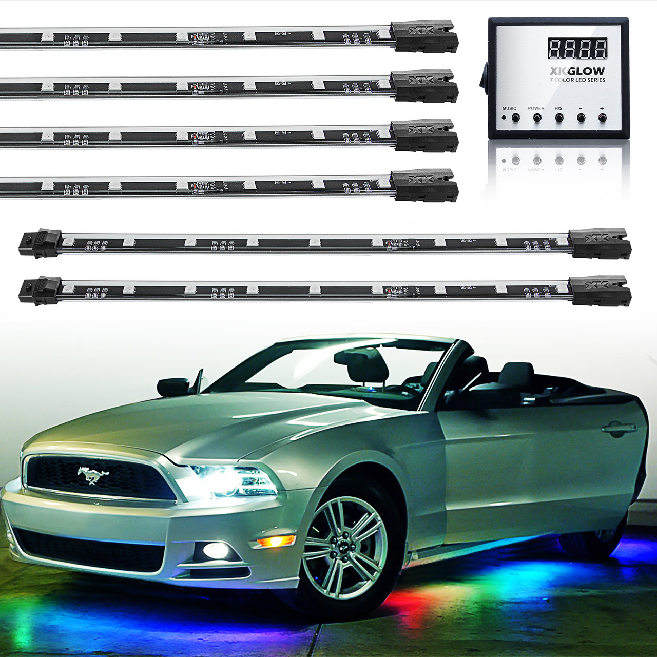 New 7 Color 8pc 24in LED Ultra Bright LED Undercar Glow Lighting 129 Mode Remote