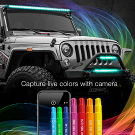 Capture live colors with Camera via smartphone app to display color onto RGBW Light Bar