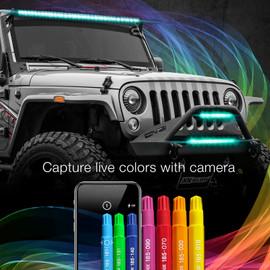 Capture live colors with Camera via smartphone app to display color onto RGBW Light Bar