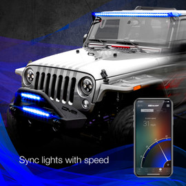 Use smartphone to sync RGBW Light Bars to vehicles speed.