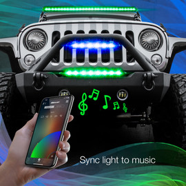 Use smartphone to sync RGBW Light Bars to music beats.