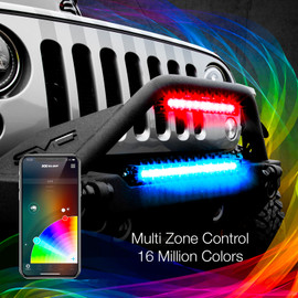 Multi Zone Control & 16 Million Colors via smartphone app to display multiple colors to RGBW Light Bars.