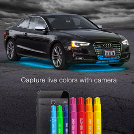 Capture live colors with Camera via smartphone app to display color onto Car light kit