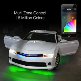 Multi Zone Control & 16 Million Colors via smartphone app to display multiple colors to car light kit