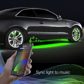 Use smartphone to sync RGB Wheel ring light to music beats.