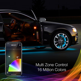 Multi Zone Control & 16 Million Colors via smartphone app to display multiple colors to RGB wheel ring light