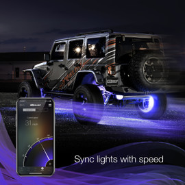 Use smartphone to sync RGB Wheel ring light to vehicles speed