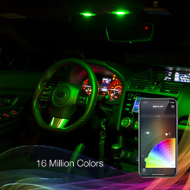 Multi Zone Control & 16 Million Colors via smartphone app to display multiple colors to interior bulbs