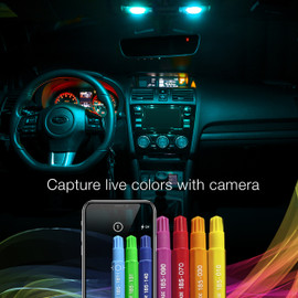 Capture live colors with Camera via smartphone app to display color onto interior bulbs
