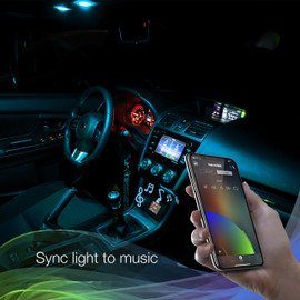 Use smartphone to sync RGB interior bulbs to music beats