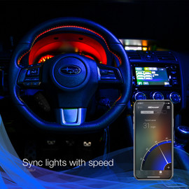 Use smartphone to sync RGB interior bulbs to vehicle speed